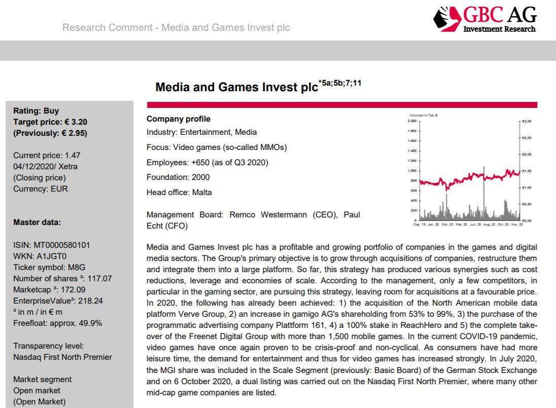 Aktieanalys av Media and Games Invest